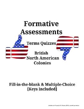 American History Terms Quiz - British North American Colonies