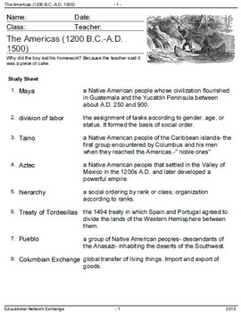 American History: The Americas 1200 B.C. - Independence 1783-Vocabulary Practice