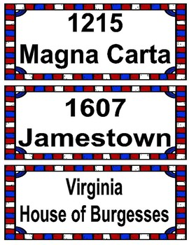 American History Timeline Event Cards