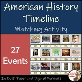 American History Timeline Matchup - 27 Events: 1607-2001 - First Day Activity