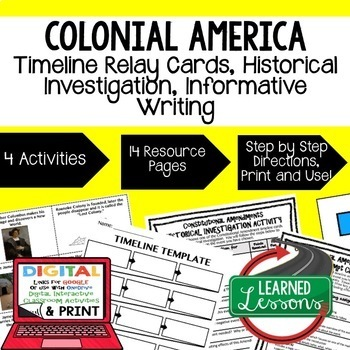 American History Bundle Timeline Relay & Writing Colonial Era-Reconstruction