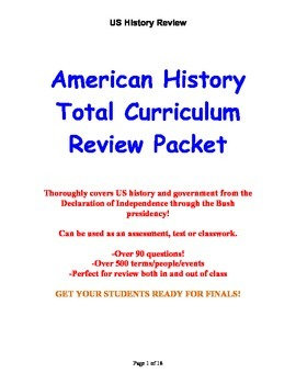 American History Total Curriculum Review Packet
