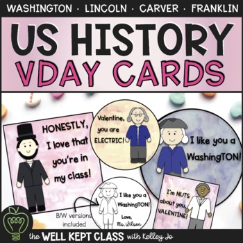 American History Valentine Cards (Color and B/W)