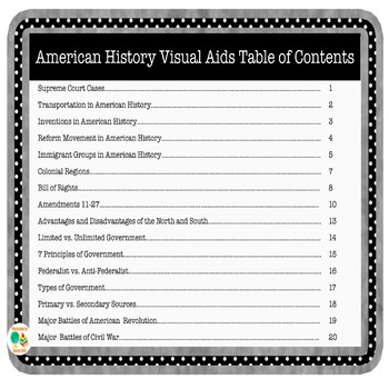American History Visual Aid Bundle