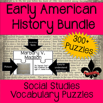 American History Vocabulary Puzzle Growing Bundle