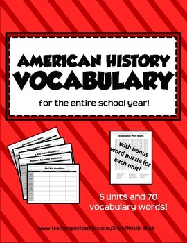 American History Vocabulary - full year!