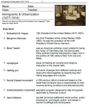 American History: Western Frontier 1877, Segregation 1917-Vocabulary Practice