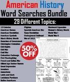 American History Word Searches Bundle: 13 Colonies, Revolution, Civil War, etc.