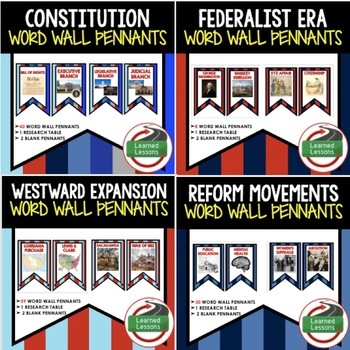 American History Word Wall 308 Pennants (Early US History)