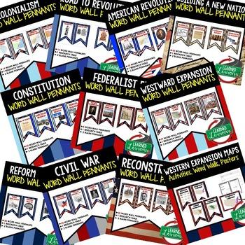 American History Word Wall 308 Pennants (US History) BUNDLE