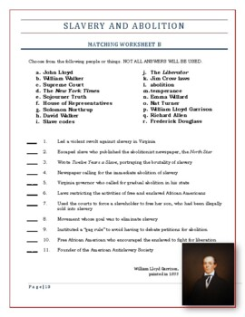 American History Worksheets -- Slavery and Abolition in the 1800s