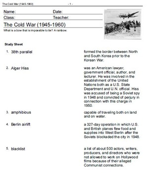 American History: World War II 1931-Cold War 1960-Vocabulary Practice