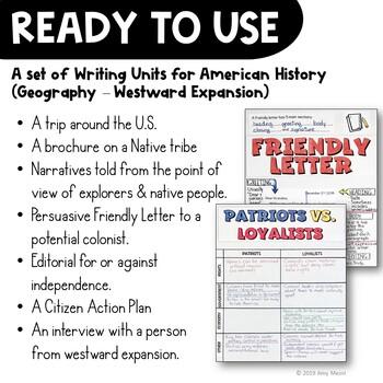 American History Writing Units Bundle: Narrative, Informational, Opinion