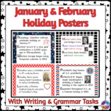 American Holiday Posters for January & February in Acrostic Poem Format