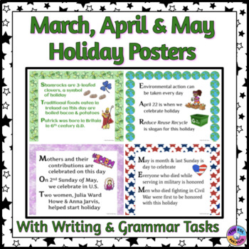 American Holiday Posters for March, April & May in Acrostic Poem Format