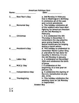 American Holidays Quiz