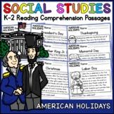 American Holidays Reading Comprehension Passages (K-2) - Social Studies