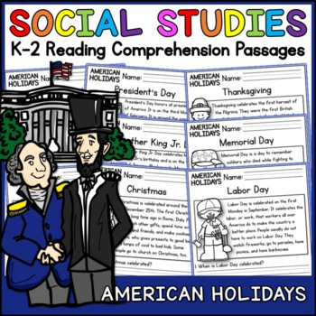 American Holidays Reading Comprehension Passages (K-2) - Social Studies