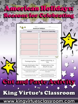 American Holidays: Reasons for Celebrating Cut and Paste Activity