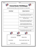 American Holidays Sort- Memorial Day, Veteran's Day, Thanksgiving, etc.