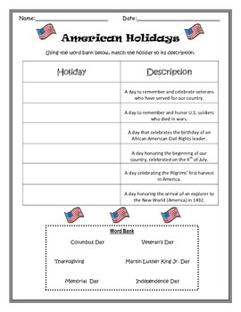 American Holidays Sort- Memorial Day, Veteran's Day, Thanksgiving, etc.
