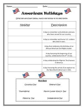 American Holidays Sort- Memorial Day, Veteran's Day, Thank