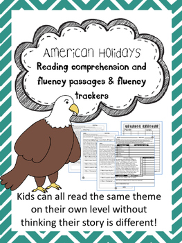 American Holidays fluency and comprehension leveled passage