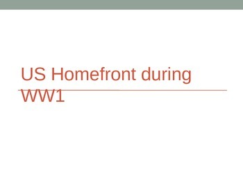 American Homefront during World War I PowerPoint