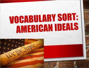 American Ideals Vocabulary Sort