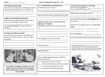 American Imperialism 5 Page Worksheet for The Gateway to U.S History Book