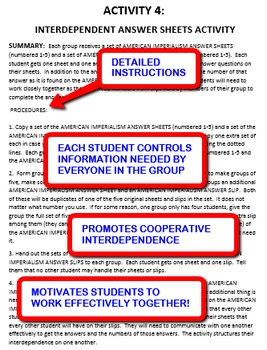 American Imperialism: Interdependent Answer Sheets Activity