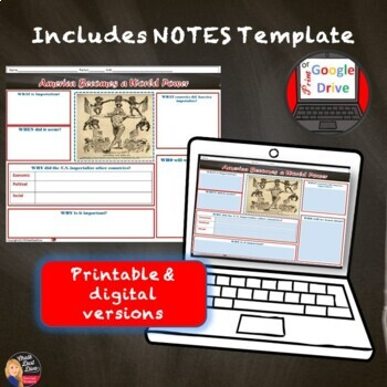 American Imperialism Introduction Lecture & Timeline Activity (Print and Digital