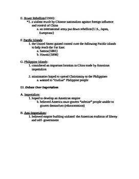 American Imperialism Notes Page
