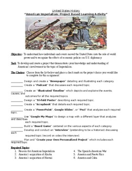 American Imperialism Project Based Learning Assignment