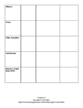 American Imperialism/WWI Vocabulary Activity Pack