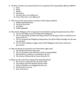 American Imperialism and Progressive Era Quiz