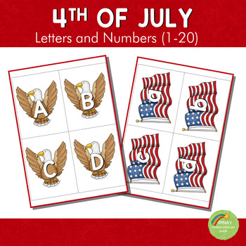 American Independence Day Themed Letters and Number Cards