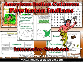 American Indian Cultures Interactive Notebook: Powhatan Indians