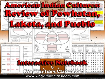 American Indian Cultures Interactive Notebook: Review of Powhatan Lakota Pueblo