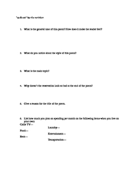 American Indian Poetry and Discussion Questions