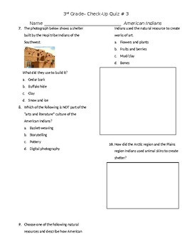 American Indian Quiz 3 of 3, GSE 3rd grade