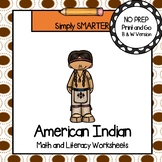 American Indian Themed Kindergarten Math and Literacy Worksheets and Activities