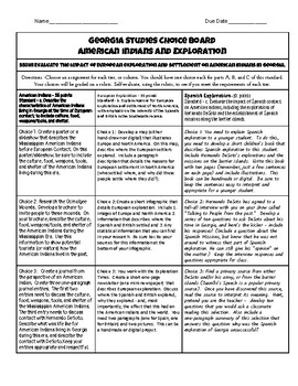 American Indians/Exploration Choice Board - Georgia Studies GSE