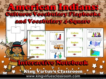 American Indian Cultures Interactive Notebook: Vocabulary Flapbooks 4-Square