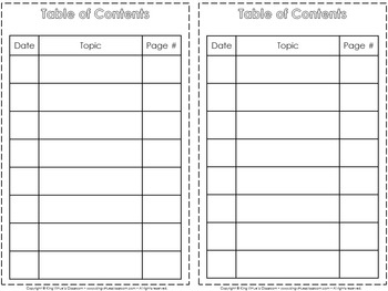 American Indians Interactive Notebook: Table of Contents