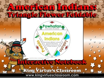 American Indians Interactive Notebook: Triangle Flower Powhatan Lakota Pueblo