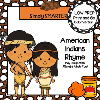 American Indians Rhyme:  LOW PREP Rhyming Play Dough Mats