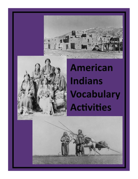 Vocabulary Activities:  American Indians