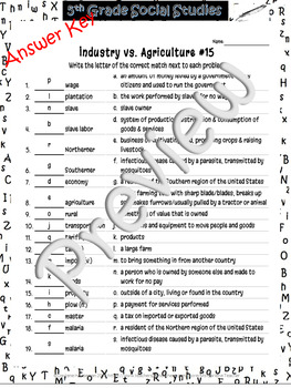 Industry vs. Agriculture~Match'Em Voc #15~Social Studies Weekly~NO PREP