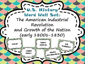 American Industrial Revolution and Growth of a Nation Word Wall Set (1800-1830)